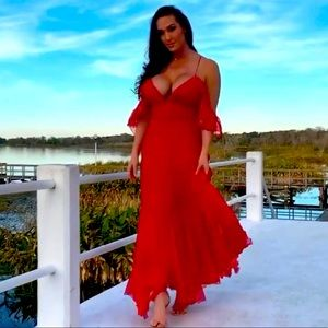 Classic sexy summer dress red